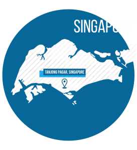 Singapore Map in Blue